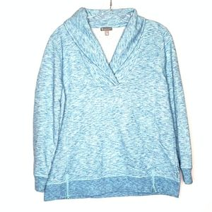 T by Talbots Blue Athleisure Fleece Top Zip LP